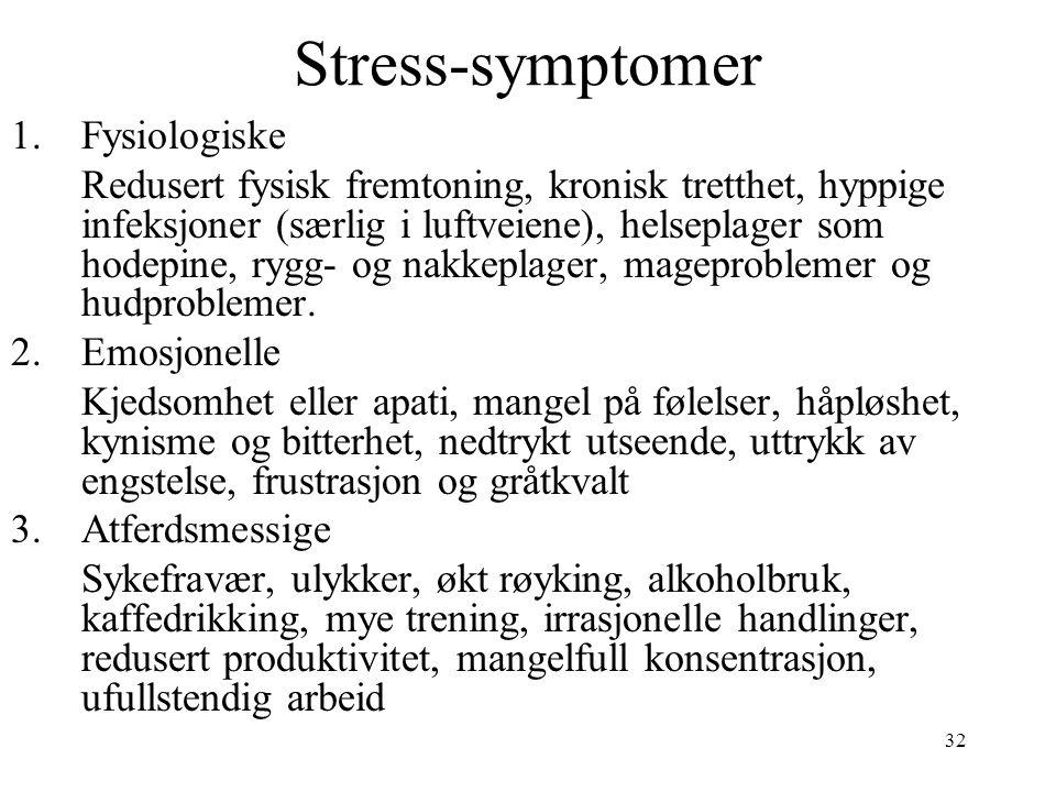 32 Stress-symptomer 1.Fysiologiske Redusert fysisk fremtoning, kronisk tretthet, hyppige infeksjoner (særlig i luftveiene), helseplager som hodepine,