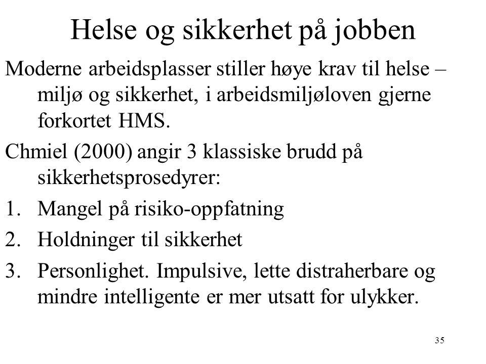 35 Helse og sikkerhet på jobben Moderne arbeidsplasser stiller høye krav til helse – miljø og sikkerhet, i arbeidsmiljøloven gjerne forkortet HMS. Chm