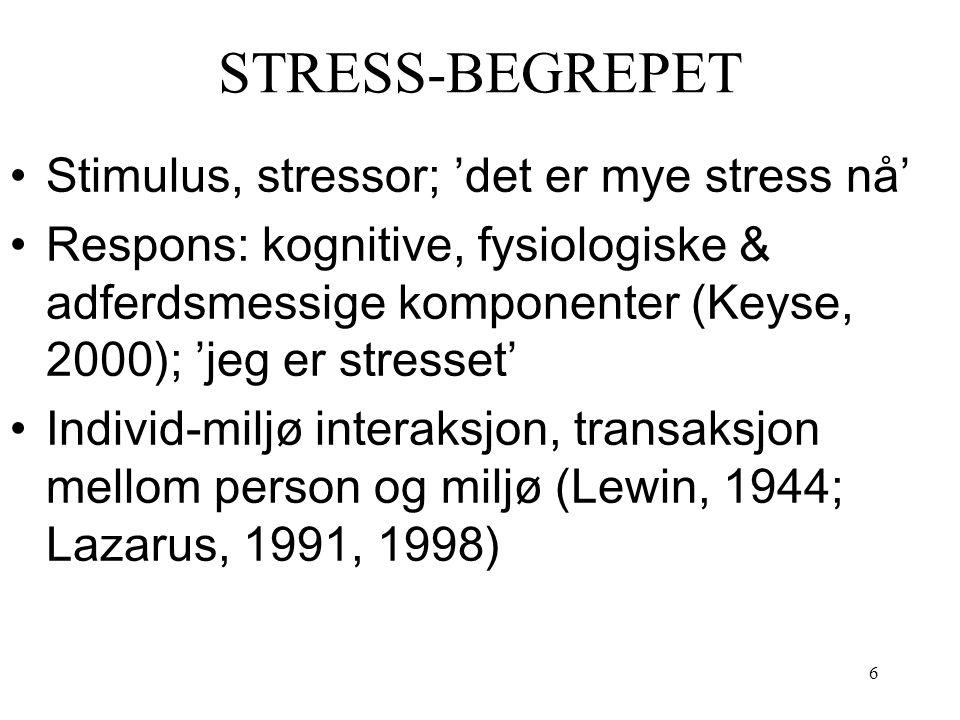 6 STRESS-BEGREPET Stimulus, stressor; 'det er mye stress nå' Respons: kognitive, fysiologiske & adferdsmessige komponenter (Keyse, 2000); 'jeg er stre