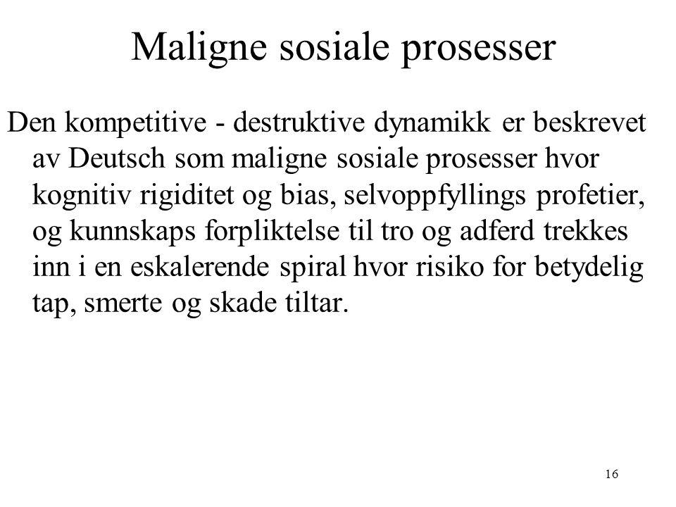 16 Maligne sosiale prosesser Den kompetitive - destruktive dynamikk er beskrevet av Deutsch som maligne sosiale prosesser hvor kognitiv rigiditet og b