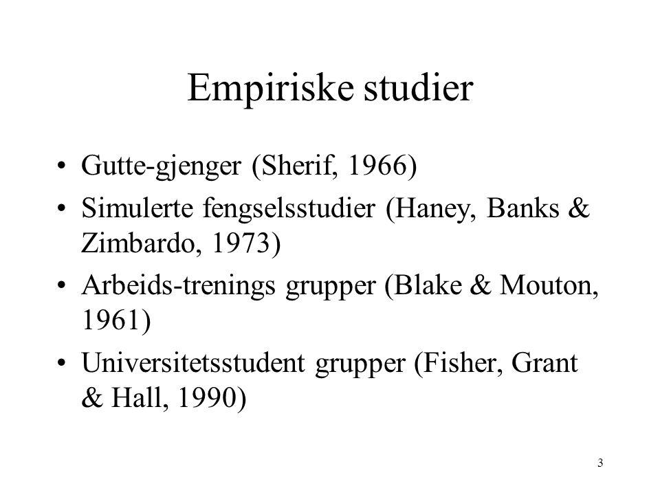 3 Empiriske studier Gutte-gjenger (Sherif, 1966) Simulerte fengselsstudier (Haney, Banks & Zimbardo, 1973) Arbeids-trenings grupper (Blake & Mouton, 1