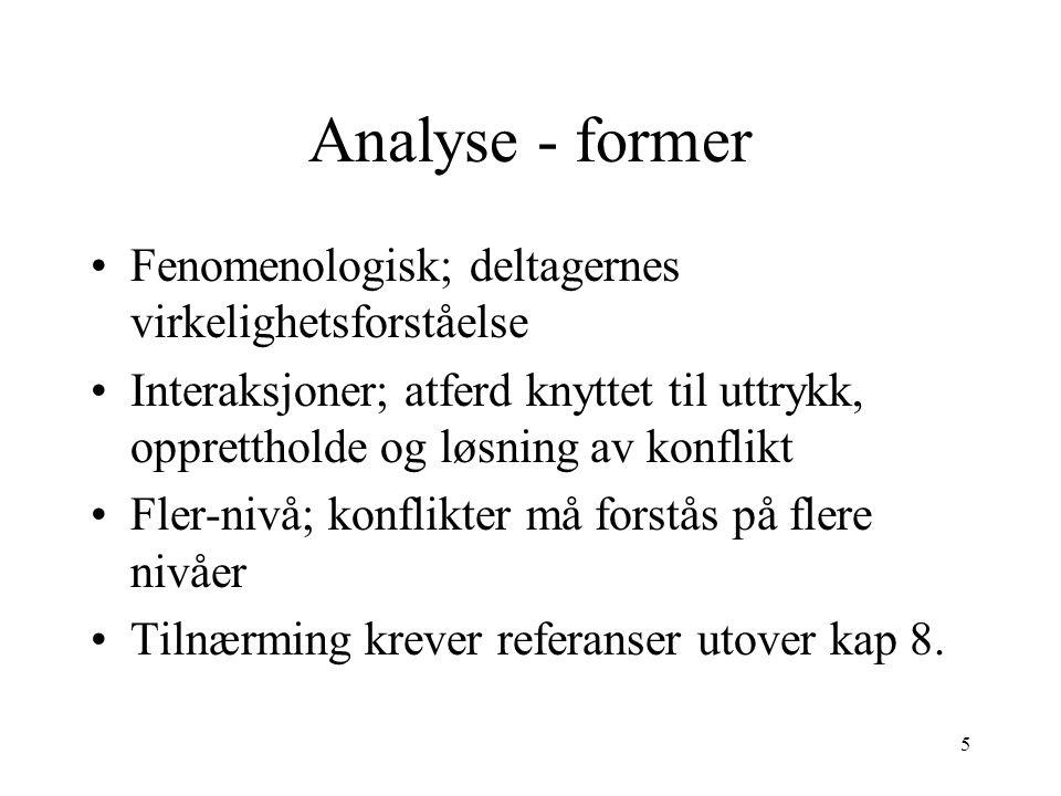 5 Analyse - former Fenomenologisk; deltagernes virkelighetsforståelse Interaksjoner; atferd knyttet til uttrykk, opprettholde og løsning av konflikt F