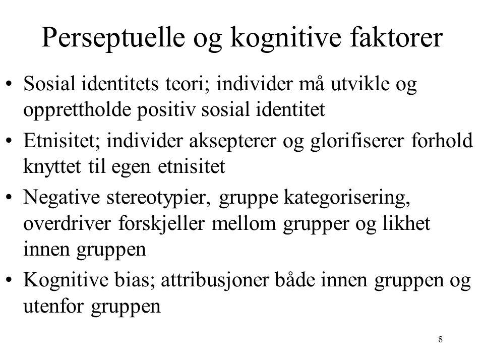 8 Perseptuelle og kognitive faktorer Sosial identitets teori; individer må utvikle og opprettholde positiv sosial identitet Etnisitet; individer aksep