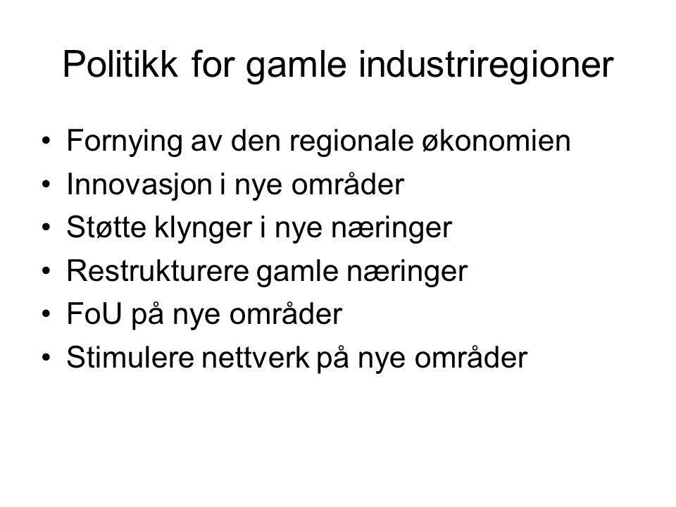 Politikk for gamle industriregioner Fornying av den regionale økonomien Innovasjon i nye områder Støtte klynger i nye næringer Restrukturere gamle næringer FoU på nye områder Stimulere nettverk på nye områder