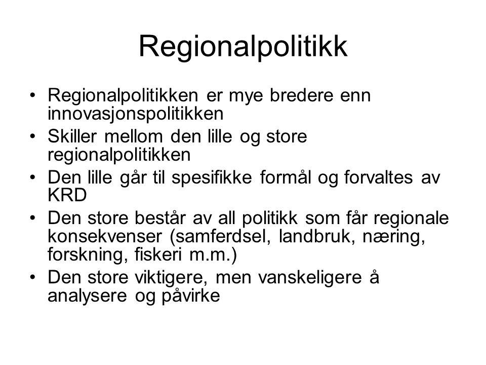 Forskning som regionalutvikling Økt oppmerksomhet om forskning som viktig for regionalutvikling Forskning og høgere utdanning er i seg selv en betydelig økonomisk aktivitet noen steder (jfr Tromsø, Volda) Forskning kan ha stor betydning for regionenes næringsliv