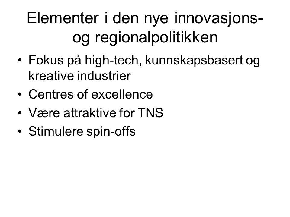 Elementer i den nye innovasjons- og regionalpolitikken Fokus på high-tech, kunnskapsbasert og kreative industrier Centres of excellence Være attraktive for TNS Stimulere spin-offs