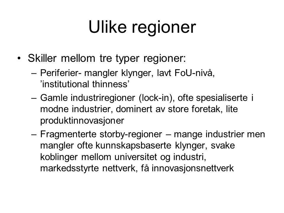 Ulike regioner Skiller mellom tre typer regioner: –Periferier- mangler klynger, lavt FoU-nivå, 'institutional thinness' –Gamle industriregioner (lock-in), ofte spesialiserte i modne industrier, dominert av store foretak, lite produktinnovasjoner –Fragmenterte storby-regioner – mange industrier men mangler ofte kunnskapsbaserte klynger, svake koblinger mellom universitet og industri, markedsstyrte nettverk, få innovasjonsnettverk