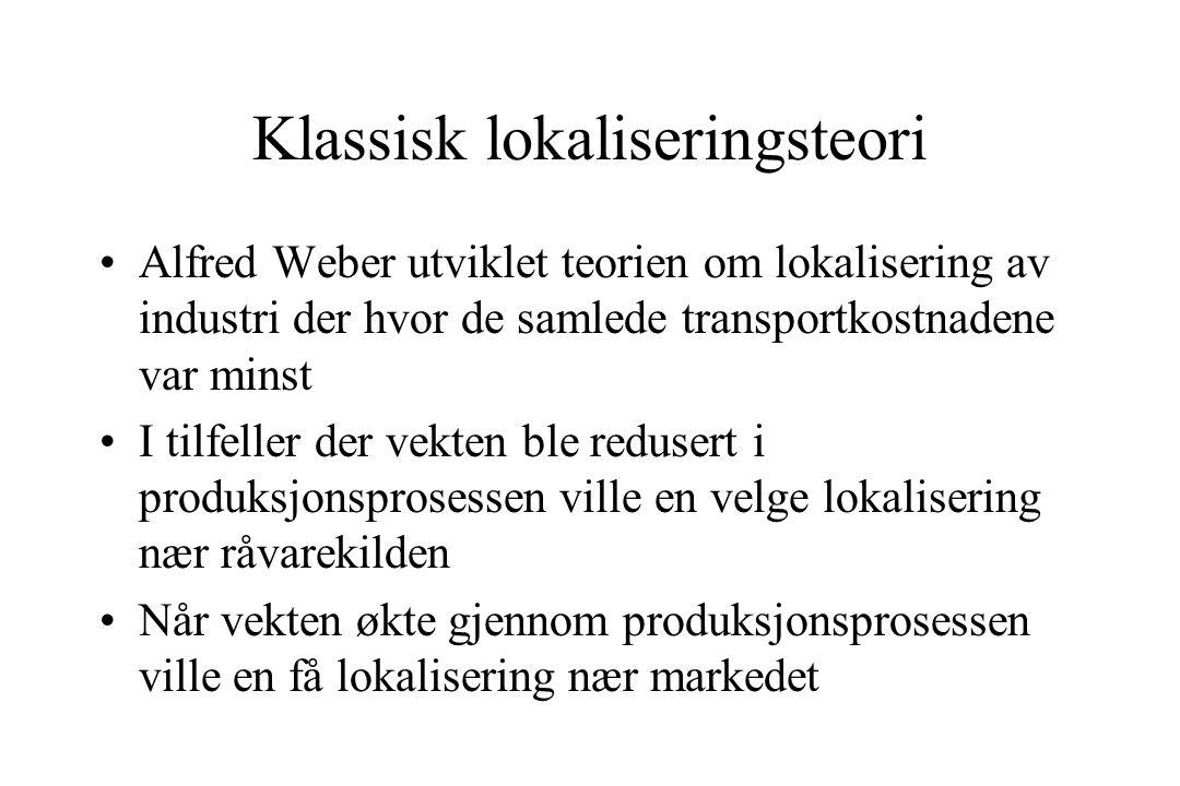 Klassisk lokaliseringsteori Alfred Weber utviklet teorien om lokalisering av industri der hvor de samlede transportkostnadene var minst I tilfeller der vekten ble redusert i produksjonsprosessen ville en velge lokalisering nær råvarekilden Når vekten økte gjennom produksjonsprosessen ville en få lokalisering nær markedet