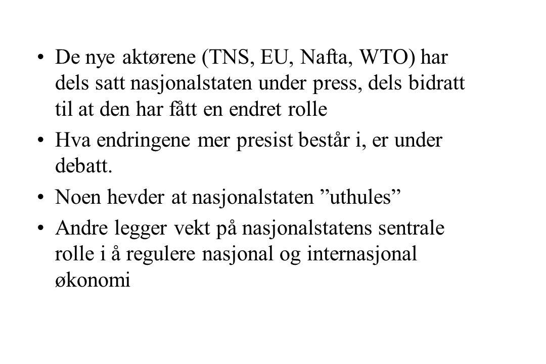 De nye aktørene (TNS, EU, Nafta, WTO) har dels satt nasjonalstaten under press, dels bidratt til at den har fått en endret rolle Hva endringene mer presist består i, er under debatt.