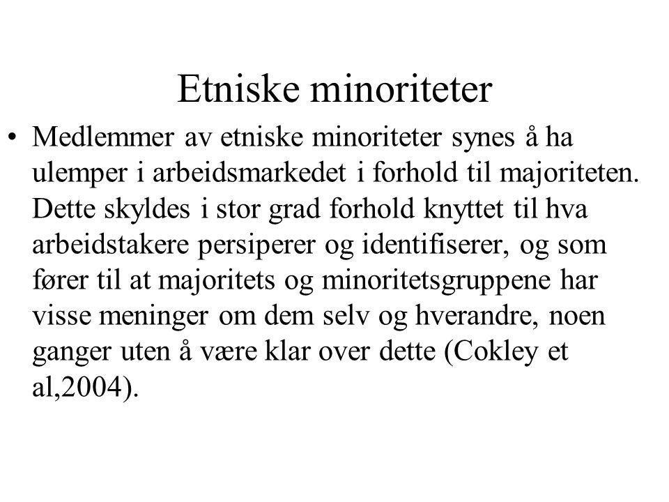 Etniske minoriteter Medlemmer av etniske minoriteter synes å ha ulemper i arbeidsmarkedet i forhold til majoriteten. Dette skyldes i stor grad forhold