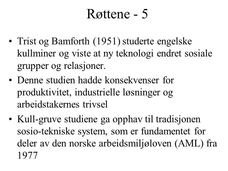Røttene - 5 Trist og Bamforth (1951) studerte engelske kullminer og viste at ny teknologi endret sosiale grupper og relasjoner. Denne studien hadde ko