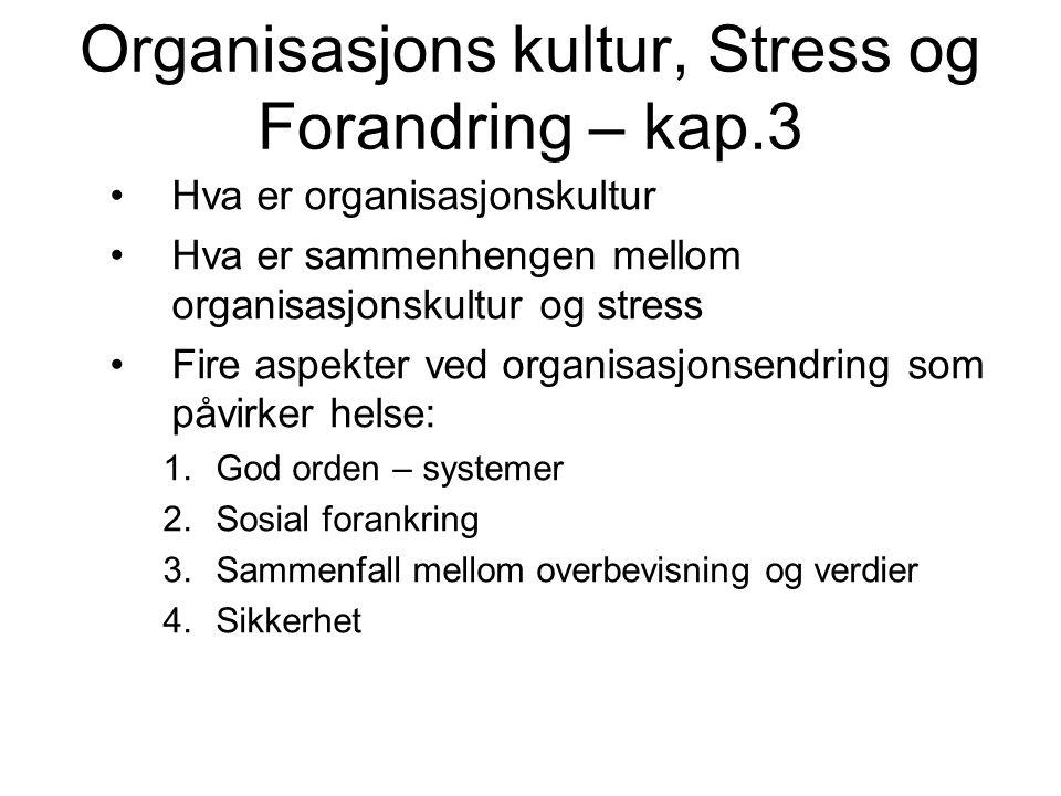 Stress intervensjoner Tiltak mot å redusere individuelt og organisasjonsmessig stress kan ha betydning for: Mer kreativitet Bedre samarbeid og bedre sosialt klima Mer arbeidsglede og høyere motivasjon Større effektivitet i arbeidet og bedre kvalitet på produktene
