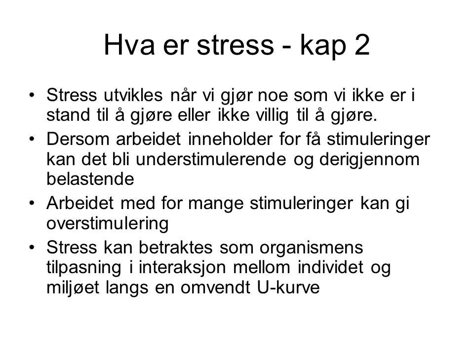 Stress intervensjoner Tiltakene rettet i forhold til: Individet (trening, behandling, omskolering) Miljøet (organisasjonsutvikling)
