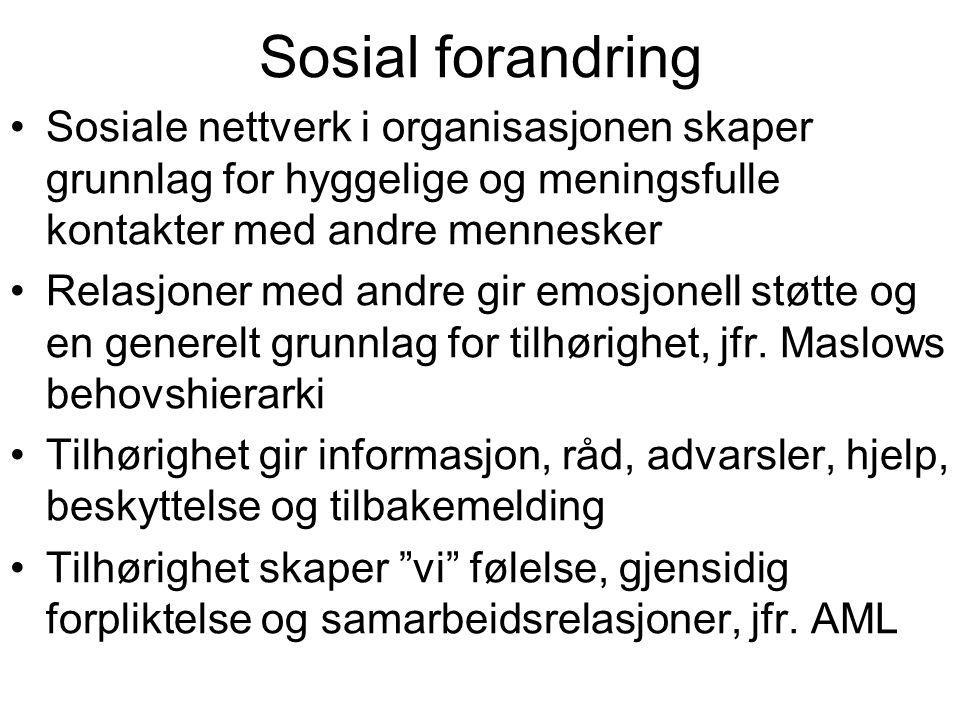 Sosial forandring Sosiale nettverk i organisasjonen skaper grunnlag for hyggelige og meningsfulle kontakter med andre mennesker Relasjoner med andre g