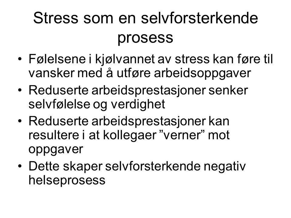 Stress som en selvforsterkende prosess Følelsene i kjølvannet av stress kan føre til vansker med å utføre arbeidsoppgaver Reduserte arbeidsprestasjone