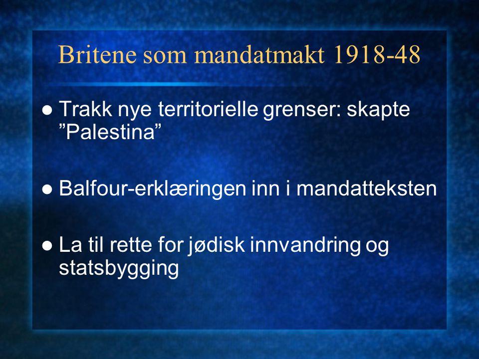 """Britene som mandatmakt 1918-48 Trakk nye territorielle grenser: skapte """"Palestina"""" Balfour-erklæringen inn i mandatteksten La til rette for jødisk inn"""