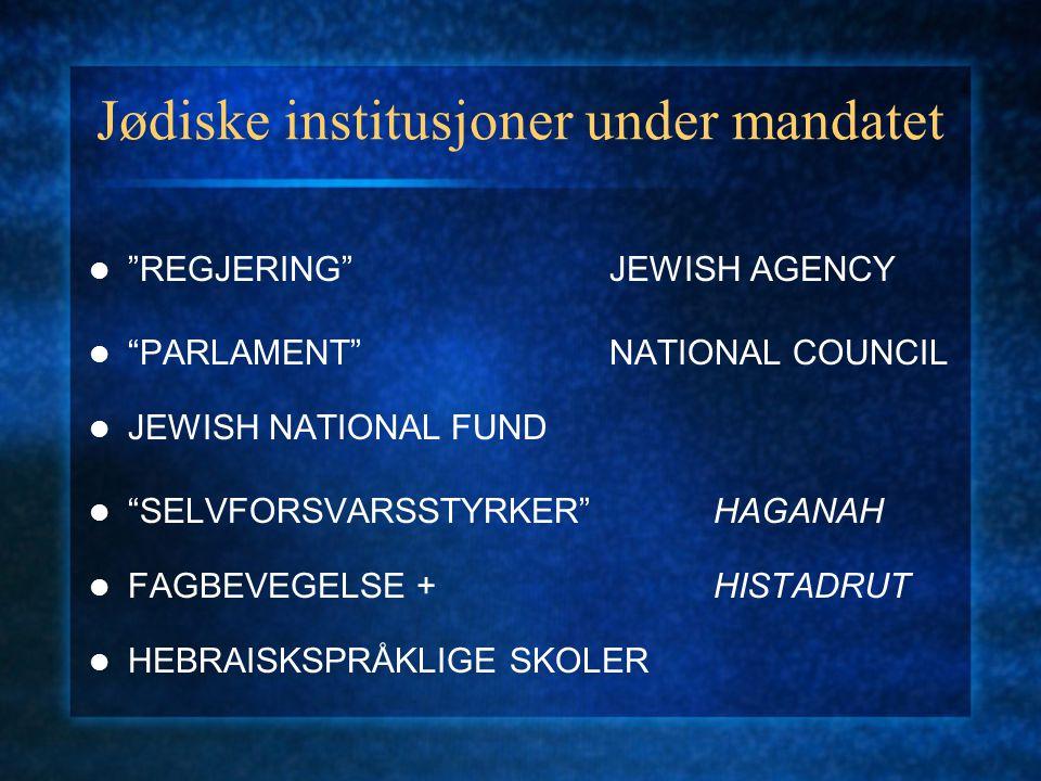 """Jødiske institusjoner under mandatet """"REGJERING""""JEWISH AGENCY """"PARLAMENT""""NATIONAL COUNCIL JEWISH NATIONAL FUND """"SELVFORSVARSSTYRKER""""HAGANAH FAGBEVEGEL"""