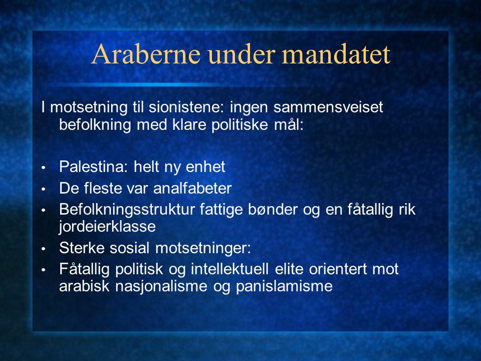 Araberne under mandatet I motsetning til sionistene: ingen sammensveiset befolkning med klare politiske mål: Palestina: helt ny enhet De fleste var an