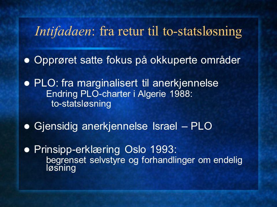 Intifadaen: fra retur til to-statsløsning Opprøret satte fokus på okkuperte områder PLO: fra marginalisert til anerkjennelse Endring PLO-charter i Alg