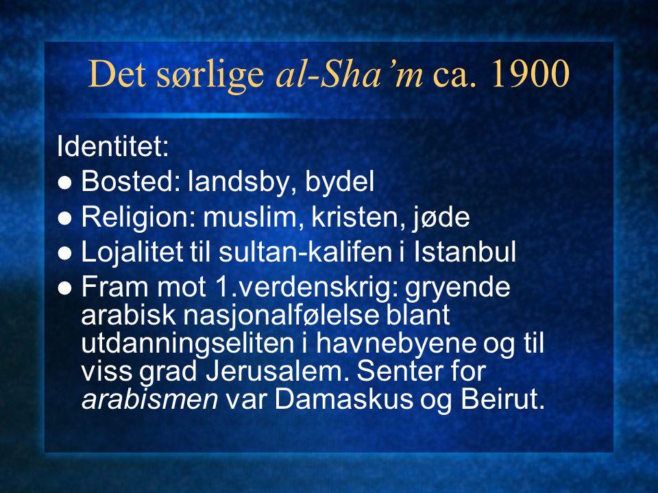 Det sørlige al-Sha'm ca. 1900 Identitet: Bosted: landsby, bydel Religion: muslim, kristen, jøde Lojalitet til sultan-kalifen i Istanbul Fram mot 1.ver