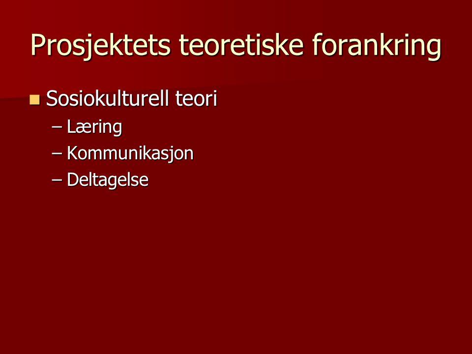 Prosjektets teoretiske forankring Sosiokulturell teori Sosiokulturell teori –Læring –Kommunikasjon –Deltagelse