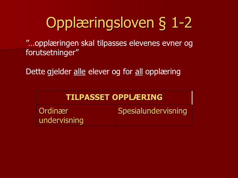 """TILPASSET OPPLÆRING Ordinær undervisning Spesialundervisning Opplæringsloven § 1-2 """"…opplæringen skal tilpasses elevenes evner og forutsetninger"""" Dett"""