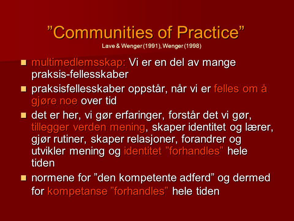 """""""Communities of Practice"""" multimedlemsskap: Vi er en del av mange praksis-fellesskaber multimedlemsskap: Vi er en del av mange praksis-fellesskaber pr"""