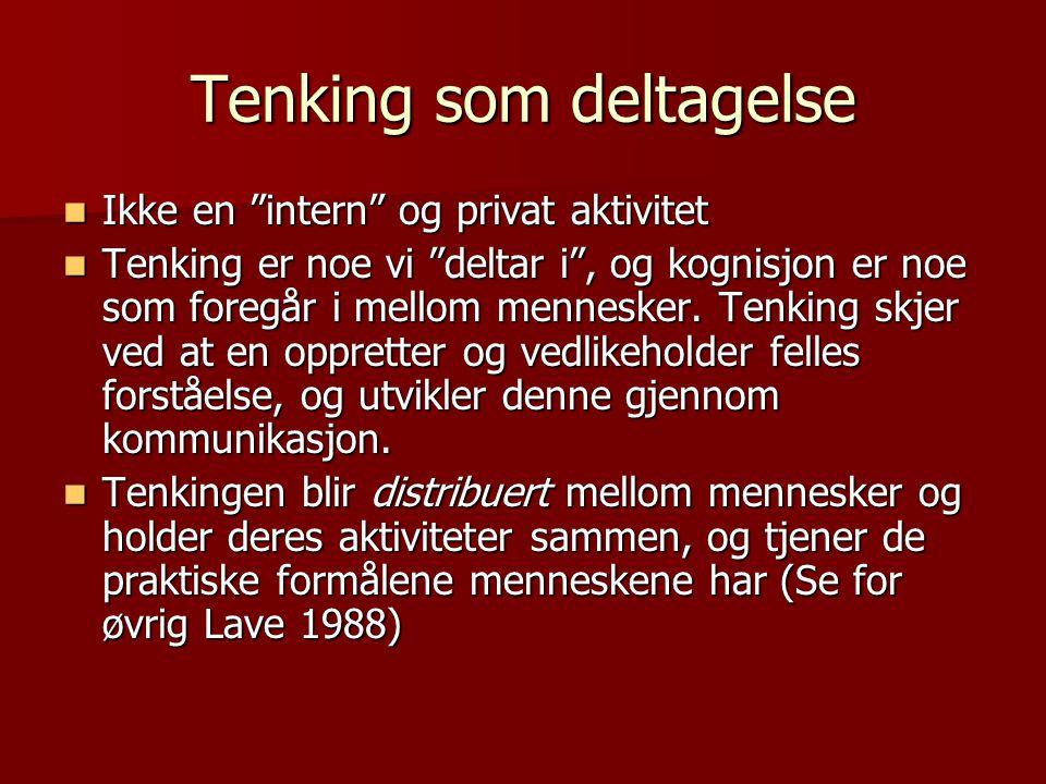 """Tenking som deltagelse Ikke en """"intern"""" og privat aktivitet Ikke en """"intern"""" og privat aktivitet Tenking er noe vi """"deltar i"""", og kognisjon er noe som"""