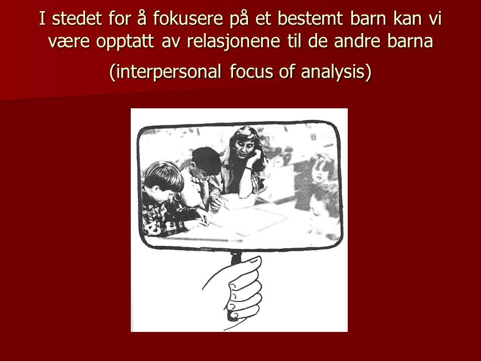 I stedet for å fokusere på et bestemt barn kan vi være opptatt av relasjonene til de andre barna (interpersonal focus of analysis)
