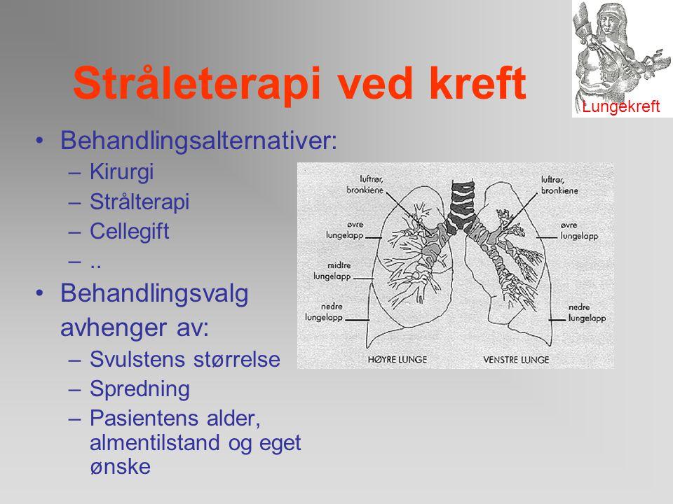 Stråleterapi ved kreft Lungekreft deles i to hovedgrupper småcellet- og ikke-småcellet lungekreft. Sykdomsutvikling, behandlingsopplegget og prognosen