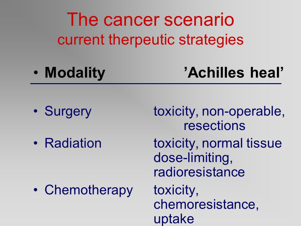 The cancer scenario current therpeutic strategies Modality'Achilles heal' Surgerytoxicity, non-operable, resections Radiationtoxicity, normal tissue dose-limiting, radioresistance Chemotherapytoxicity, chemoresistance, uptake