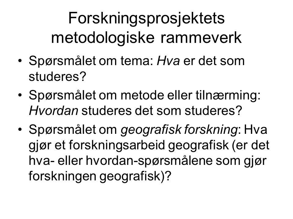 Forskningsprosjektets metodologiske rammeverk Spørsmålet om tema: Hva er det som studeres.