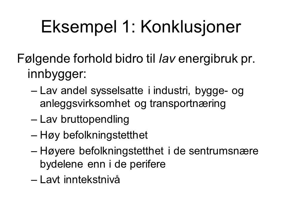 Eksempel 1: Konklusjoner Følgende forhold bidro til lav energibruk pr.