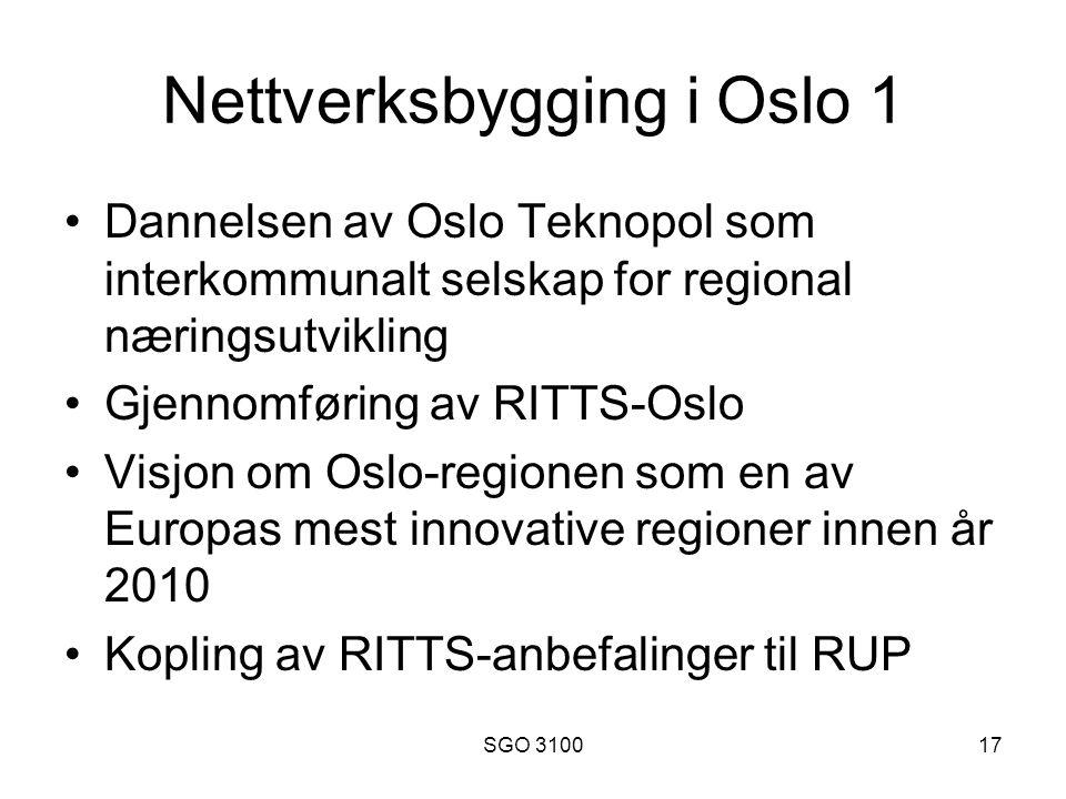 SGO 310017 Nettverksbygging i Oslo 1 Dannelsen av Oslo Teknopol som interkommunalt selskap for regional næringsutvikling Gjennomføring av RITTS-Oslo Visjon om Oslo-regionen som en av Europas mest innovative regioner innen år 2010 Kopling av RITTS-anbefalinger til RUP