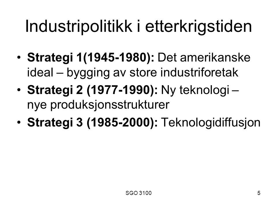 SGO 31005 Industripolitikk i etterkrigstiden Strategi 1(1945-1980): Det amerikanske ideal – bygging av store industriforetak Strategi 2 (1977-1990): Ny teknologi – nye produksjonsstrukturer Strategi 3 (1985-2000): Teknologidiffusjon