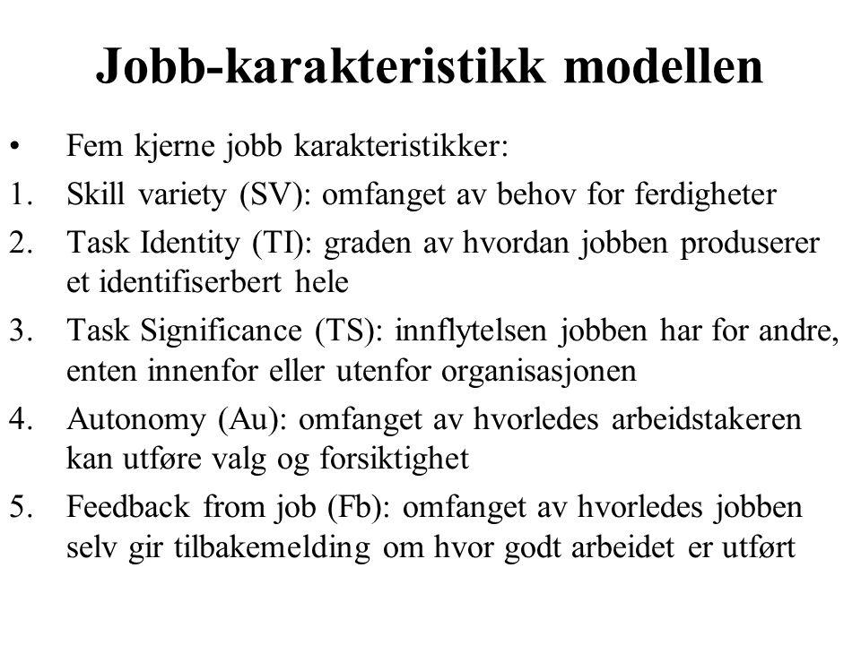 Jobb-karakteristikk modellen Fem kjerne jobb karakteristikker: 1.Skill variety (SV): omfanget av behov for ferdigheter 2.Task Identity (TI): graden av