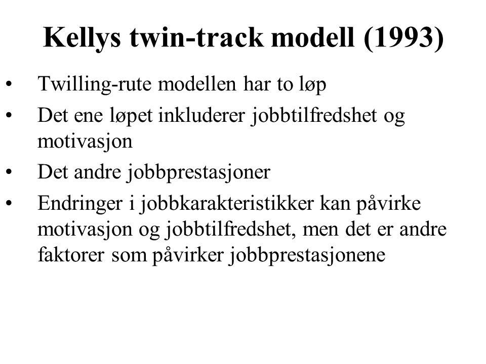 Kellys twin-track modell (1993) Twilling-rute modellen har to løp Det ene løpet inkluderer jobbtilfredshet og motivasjon Det andre jobbprestasjoner En