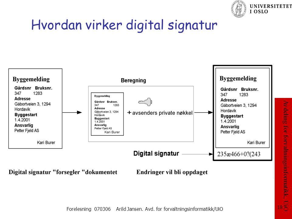Avdeling for forvaltningsinformatikk, UiO Forelesning 070306 Arild Jansen. Avd. for forvaltningsinformatikk/UiO 18 Hvordan virker digital signatur