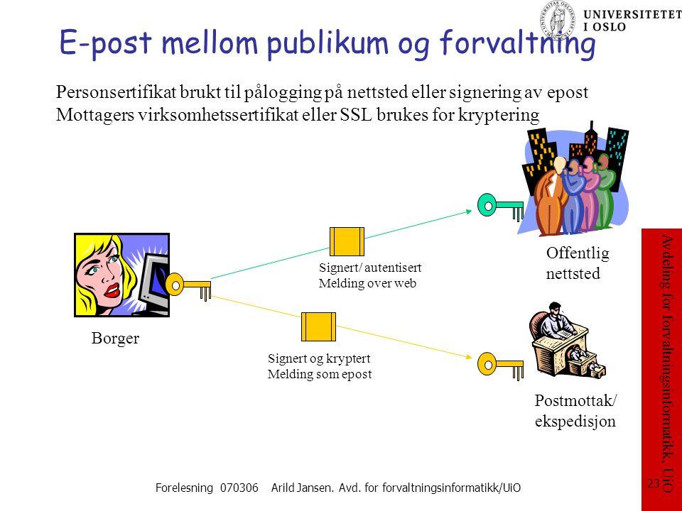Avdeling for forvaltningsinformatikk, UiO Forelesning 070306 Arild Jansen. Avd. for forvaltningsinformatikk/UiO 23 E-post mellom publikum og forvaltni