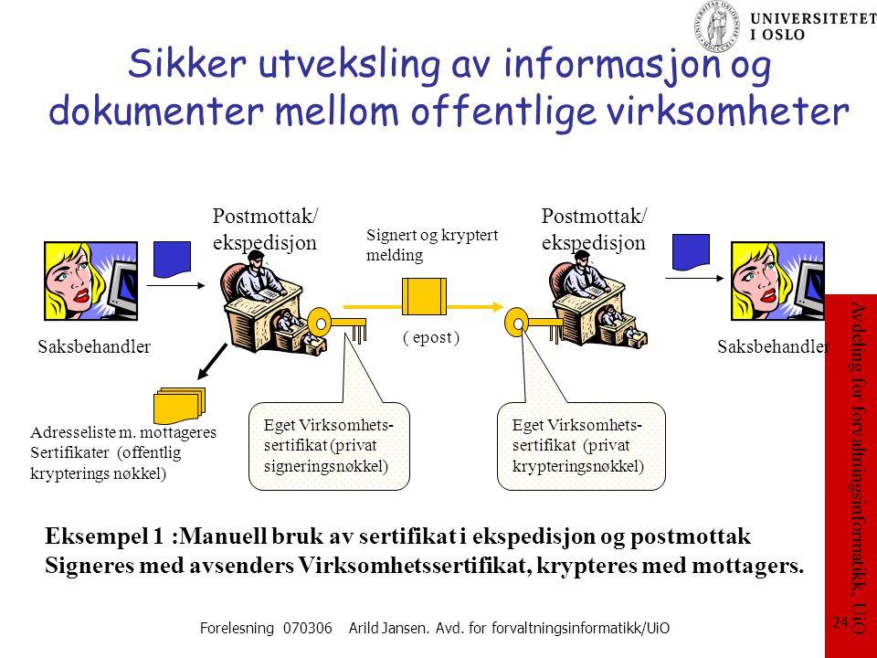 Avdeling for forvaltningsinformatikk, UiO Forelesning 070306 Arild Jansen. Avd. for forvaltningsinformatikk/UiO 24 Sikker utveksling av informasjon og