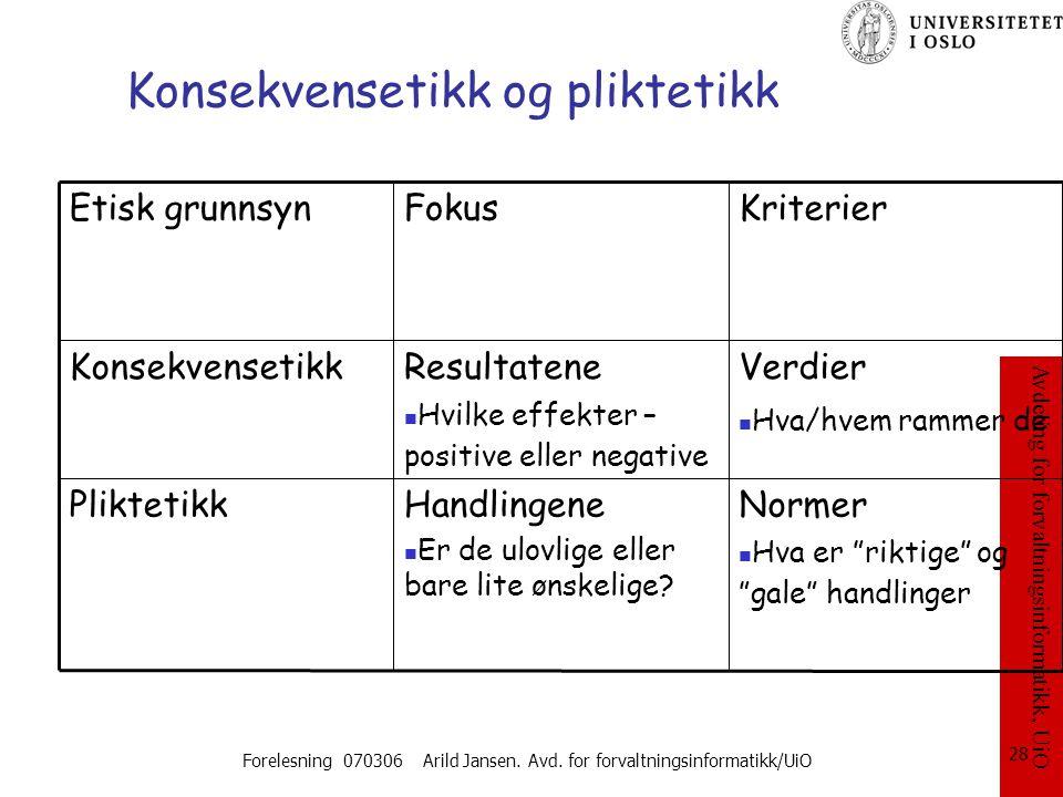 Avdeling for forvaltningsinformatikk, UiO Forelesning 070306 Arild Jansen. Avd. for forvaltningsinformatikk/UiO 28 Konsekvensetikk og pliktetikk Norme
