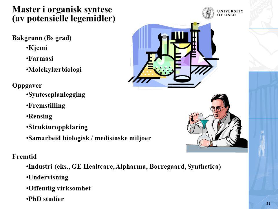 Master i organisk syntese (av potensielle legemidler) Bakgrunn (Bs grad) Kjemi Farmasi Molekylærbiologi Oppgaver Synteseplanlegging Fremstilling Rensi