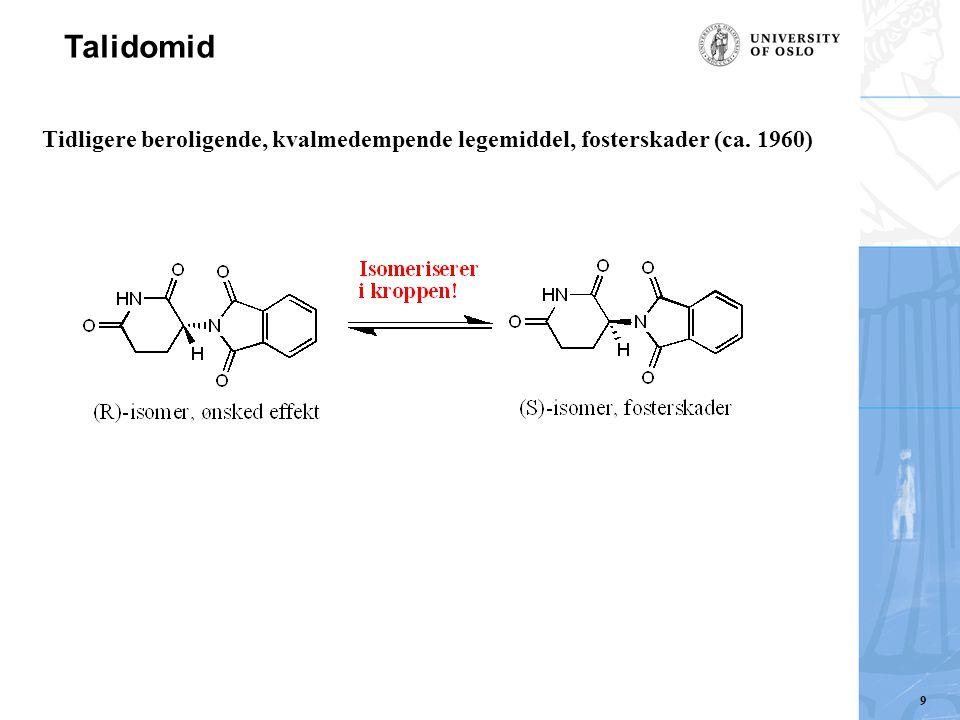 Talidomid Tidligere beroligende, kvalmedempende legemiddel, fosterskader (ca. 1960) 9