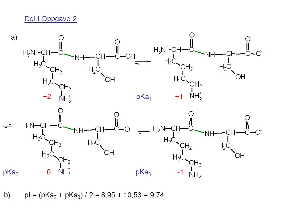 Del I Oppgave 2 pI = (pKa 2 + pKa 3 ) / 2 = 8,95 + 10,53 = 9,74 a) b) +2 pKa 1 +1 pKa 2 0 pKa 3 -1