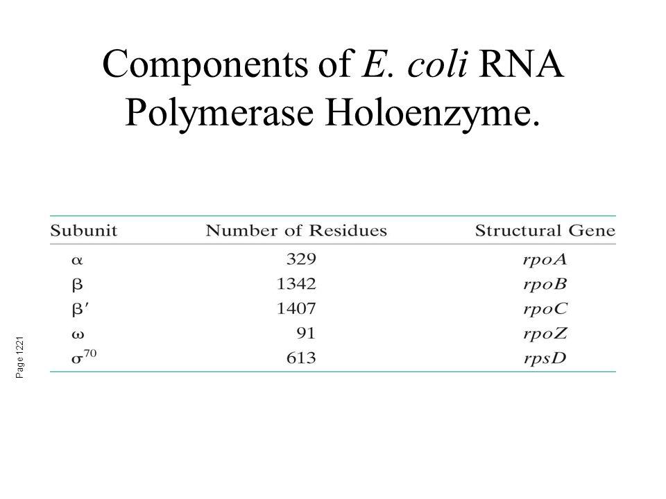 Components of E. coli RNA Polymerase Holoenzyme. Page 1221