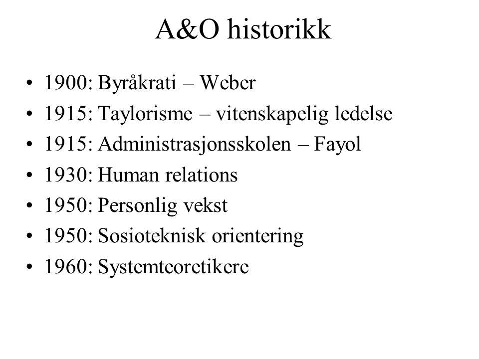 A&O historikk 1900: Byråkrati – Weber 1915: Taylorisme – vitenskapelig ledelse 1915: Administrasjonsskolen – Fayol 1930: Human relations 1950: Personl