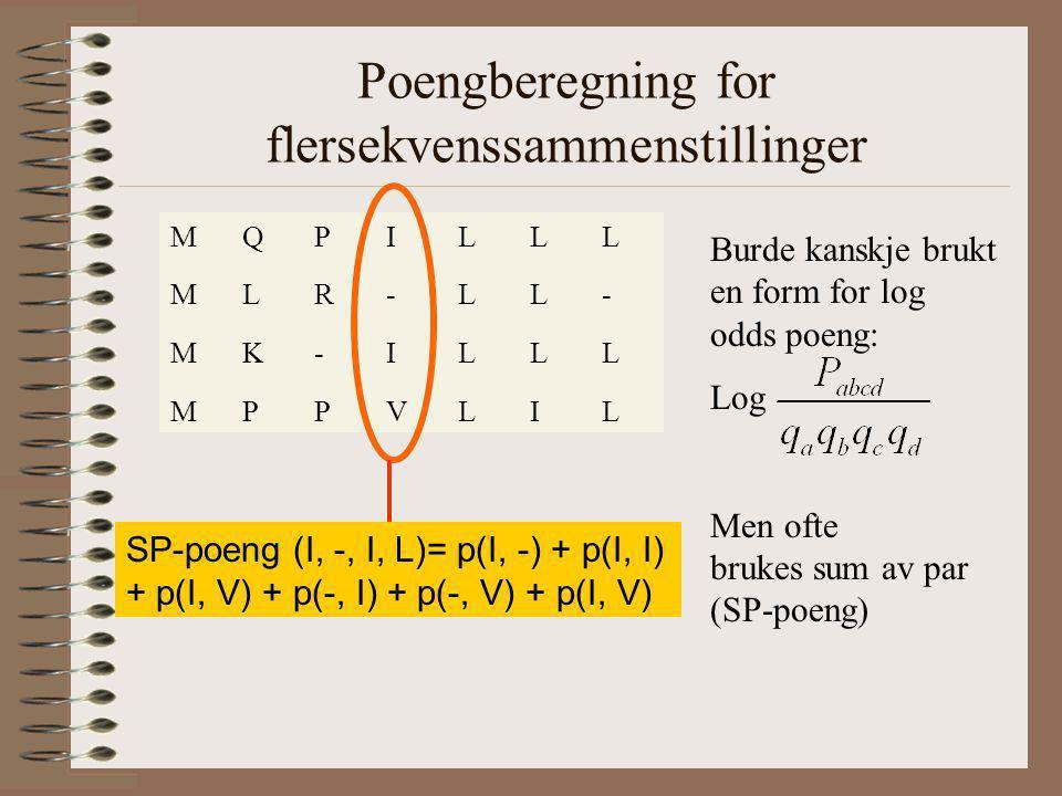 Poengberegning for flersekvenssammenstillinger MQPILLL MLR-LL- MK-ILLL MPPVLIL Burde kanskje brukt en form for log odds poeng: Log Men ofte brukes sum av par (SP-poeng) SP-poeng (I, -, I, L)= p(I, -) + p(I, I) + p(I, V) + p(-, I) + p(-, V) + p(I, V)