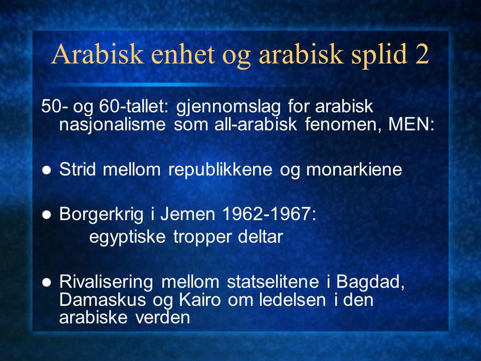 Arabisk enhet og arabisk splid 2 50- og 60-tallet: gjennomslag for arabisk nasjonalisme som all-arabisk fenomen, MEN: Strid mellom republikkene og mon