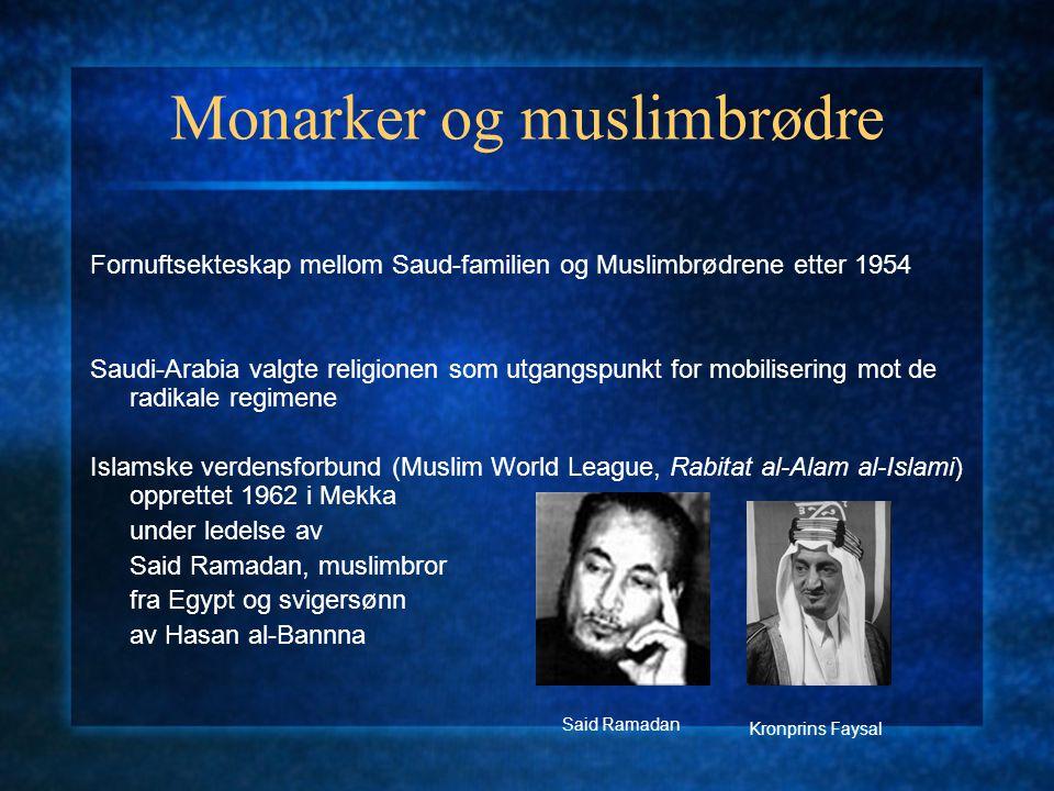 Monarker og muslimbrødre Fornuftsekteskap mellom Saud-familien og Muslimbrødrene etter 1954 Saudi-Arabia valgte religionen som utgangspunkt for mobili