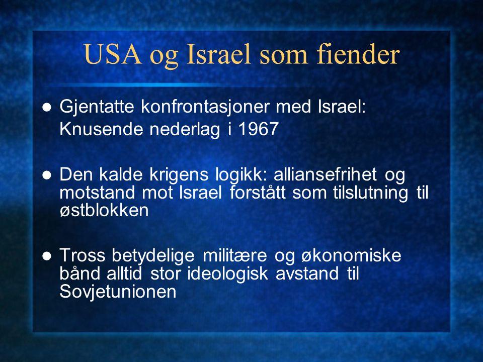 USA og Israel som fiender Gjentatte konfrontasjoner med Israel: Knusende nederlag i 1967 Den kalde krigens logikk: alliansefrihet og motstand mot Isra